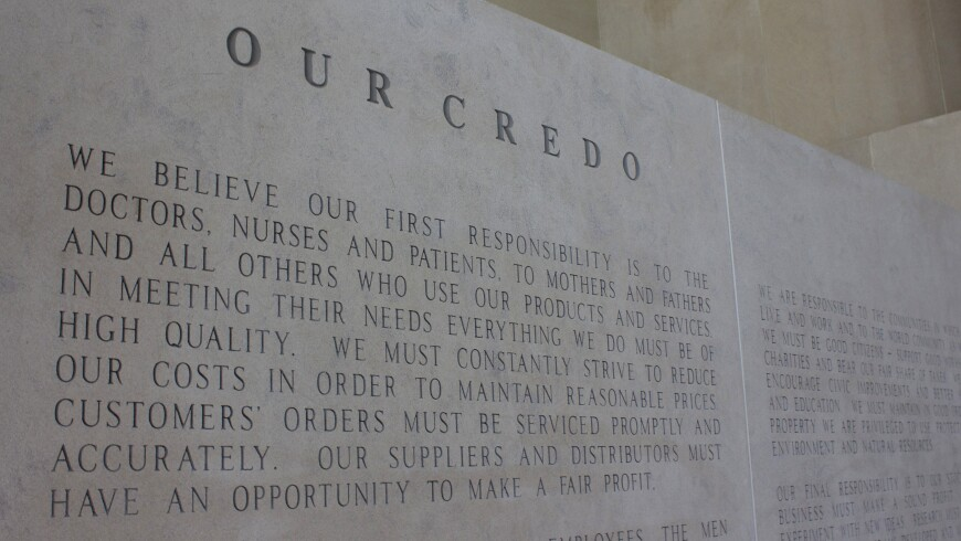 An 8-Foot-Tall Engraved Version of the Johnson & Johnson Credo, Which Sits in New Brunswick, N.J.
