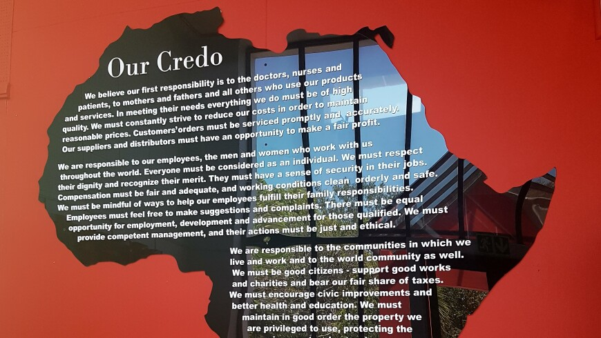 The Credo Displayed in the Shape of Africa at Johnson & Johnson's East London, South Africa Site